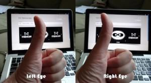 Try it!  Alternate right eye, left eye...