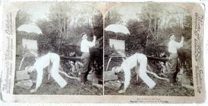 "An Underwood & Underwood stereoview.  ""An Artist in his line"" Copyright 1898."